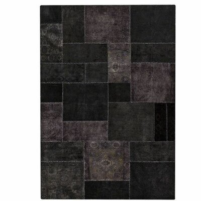 Renaissance Hand-Knotted Black Area Rug Rug Size: 710 x 910