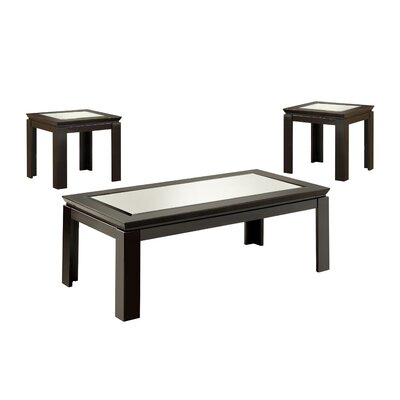 Nayom Mirrored 3 Piece Coffee Table Set