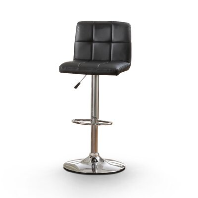Pure Adjustable Height Swivel Bar Stool Upholstery: Black