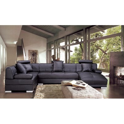 Houston Leather Modular Sectional Upholstery: Brown, Orientation: Left Hand Facing