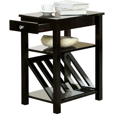 Waldon 1 Drawer End Table Color: Black