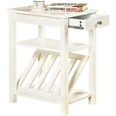 Waldon 1 Drawer End Table Color: White