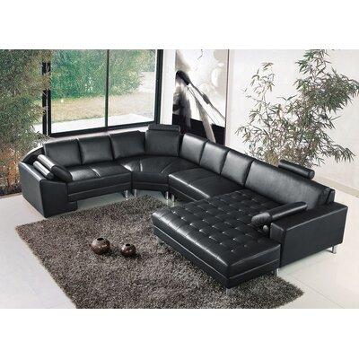 Vacaville Sectional Upholstery: Black, Orientation: Right Arm Facing