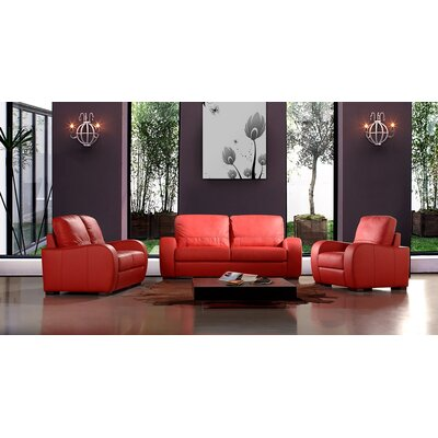 Savana 3 Piece Leather Living Room Set Upholstery: Black