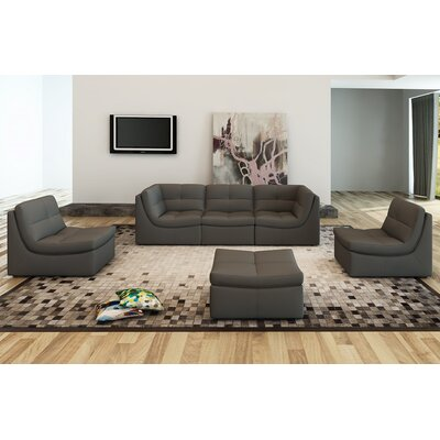 Monaco Leather Modular Sectional with Ottoman Upholstery: Gray