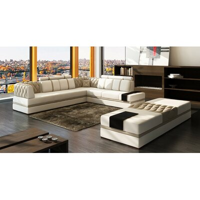 Magdalena Modular Sectional Upholstery: White/Beige
