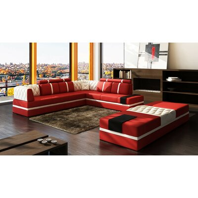 Magdalena Modular Sectional Upholstery: Red/White
