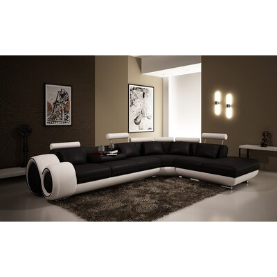 Melrose Reclining Sectional Upholstery: Black/White