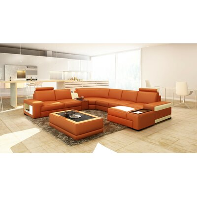 St. Tropez Sectional Upholstery: Faux Leather Orange