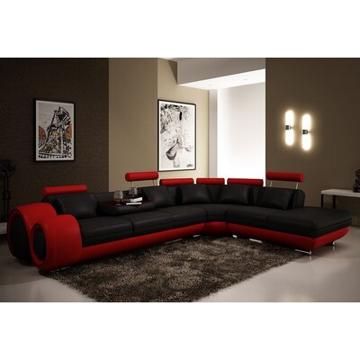 Melrose Reclining Sectional Upholstery: Black/Red