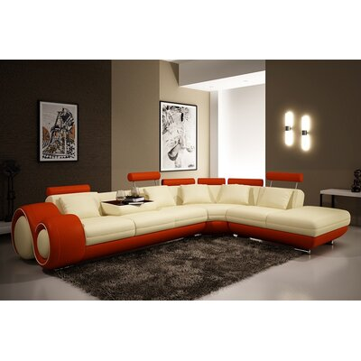 Hokku Designs KUI8511 31348288 Melrose 3 Piece Leather Sectional