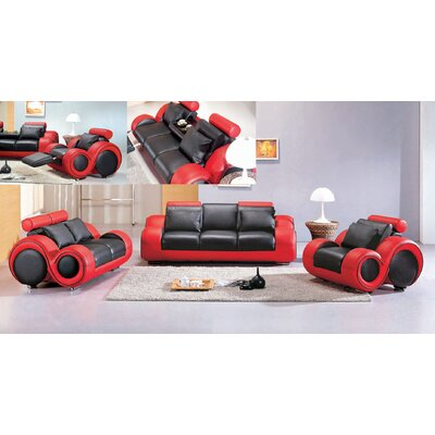 Hematite 3 Piece Leather Living Room Set Upholstery: Black / Red