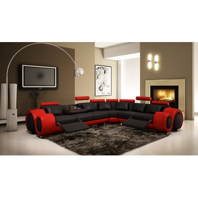 Leather Reclining Sectional Upholstery: Black/Red