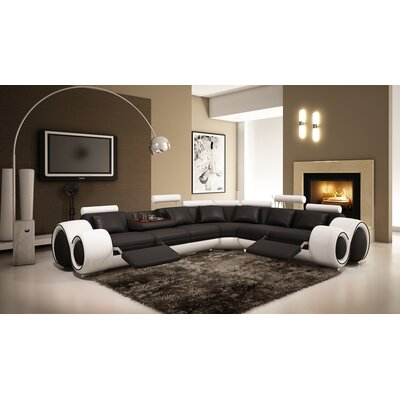 Reclining Sectional Upholstery: Black / White
