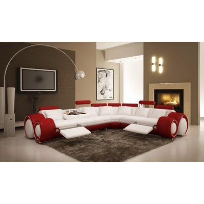 Leather Sectional Upholstery: White/Red