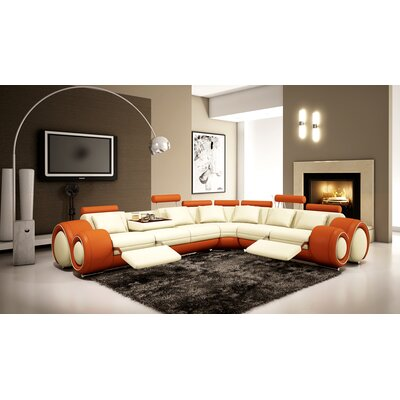 Reclining Sectional Upholstery: Ivory / Orange