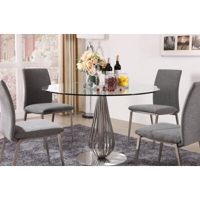 5 Piece Round Glass Dining Set