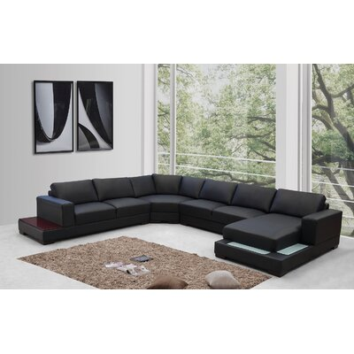 Epling Sectional Upholstery: Black/ Red