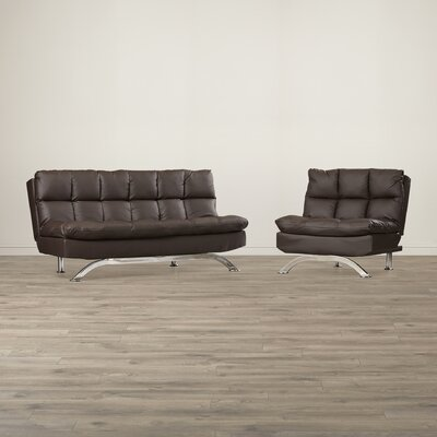 Aristo Bi-Cast Leather Convertible Sofa and Chair Set Upholstery: Dark Espresso