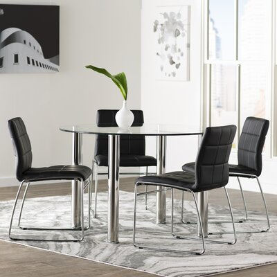 Rockaway 5 Piece Dining Set Finish: Black