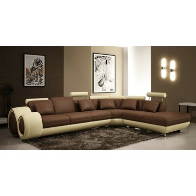 Melrose Reclining Sectional Upholstery: Brown/Ivory