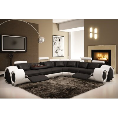 Hokku Designs MF4087-BKWT Leather Sectional Finish