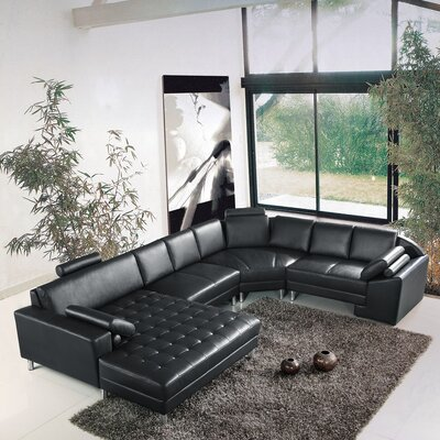 Vacaville Sleeper Sectional Upholstery: Black, Orientation: Left Arm Facing