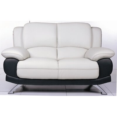 Leather Loveseat Upholstery: Gray/Black