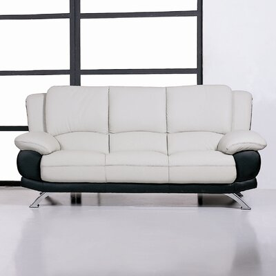 Leather Sofa Upholstery: Gray/Black