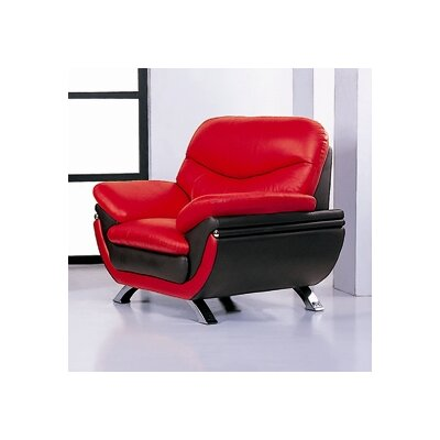 Jonus Lounge Chair Color: Red and Black