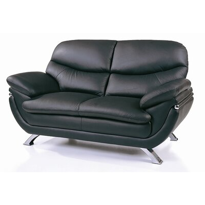 Leather Loveseat Upholstery: Black