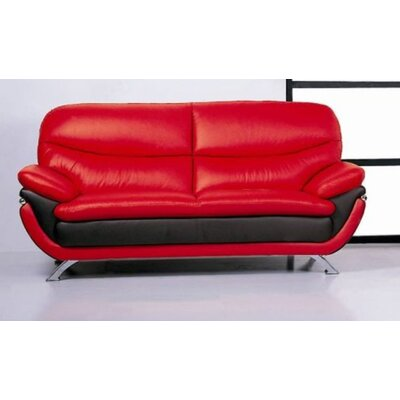 Leather Loveseat Upholstery: Red/Black