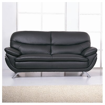 Jonus Leather Sofa Upholstery: Black