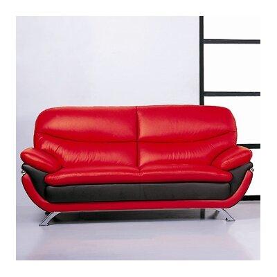 Jonus Leather Sofa Upholstery: Red/Black