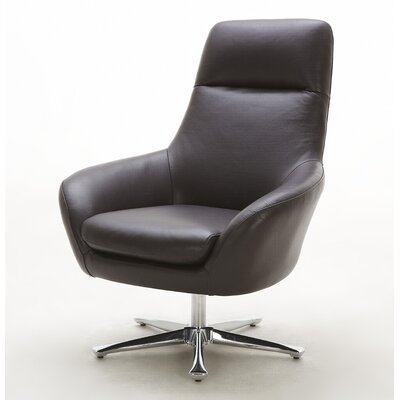 Navis Leather Lounge Chair Color: Brown
