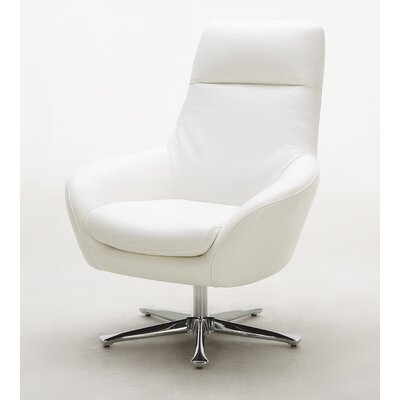 Navis Leather Lounge Chair Color: White