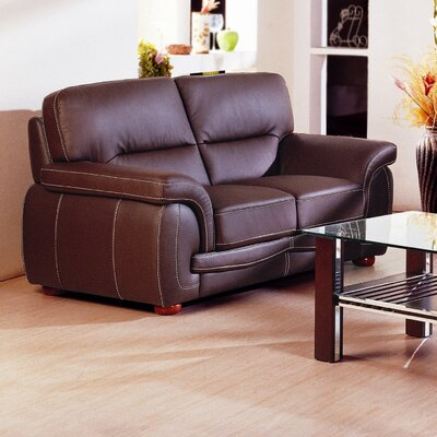 Leather Loveseat Upholstery: Brown