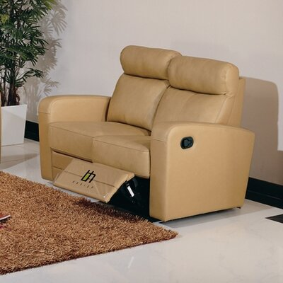 Leather Reclining Loveseat Upholstery: Taupe