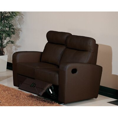 Leather Reclining Loveseat Upholstery: Brown