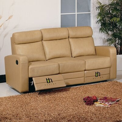 Leather Leather Reclining Sofa Upholstery: Taupe
