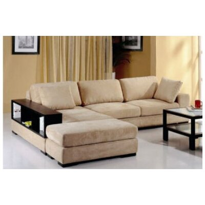 Sectional with Ottoman Upholstery: Beige, Orientation: Right Hand Facing