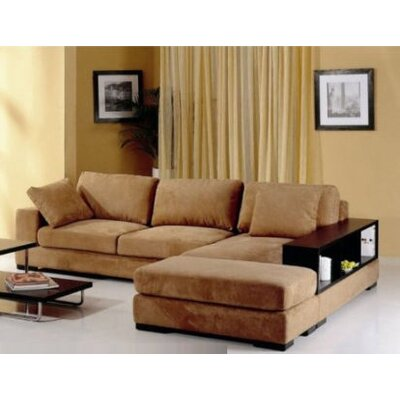 Sectional with Ottoman Upholstery: Brown, Orientation: Right Hand Facing
