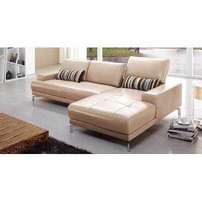 Leather Sectional Upholstery: Taupe, Orientation: Right Hand Facing