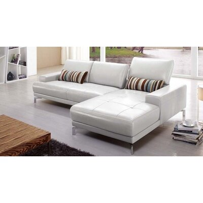 Leather Sectional Upholstery: Gray, Orientation: Right Hand Facing