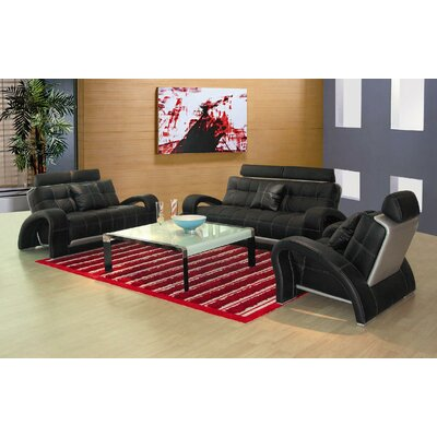 Arthur Leather 3 Piece Living Room Set