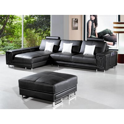 Martini Leather Sectional Upholstery: Black