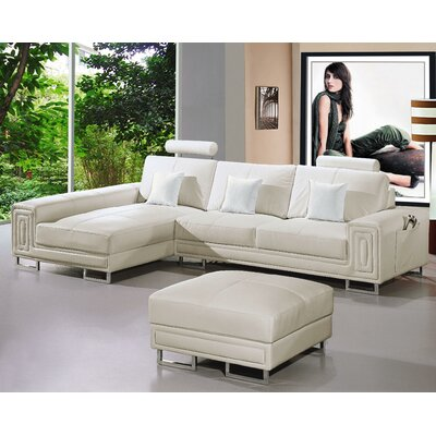 Martini Sectional with Ottoman Upholstery: White