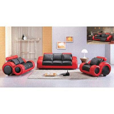 Hokku Designs NG5199-Tfu-cmbdl/sfe Hematite 3 Piece Bonded Leather Sofa Set Upholstery