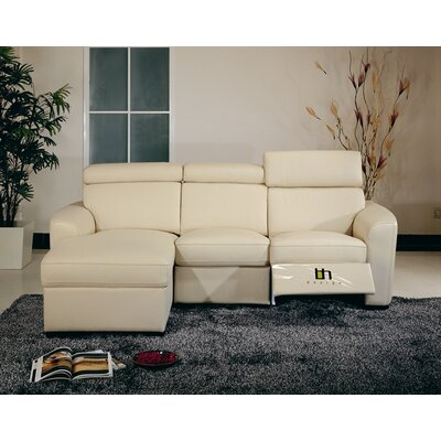 Reclining Sectional Upholstery: Beige, Type: Electric, Orientation: Right Hand Facing