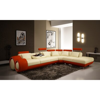 Melrose Reclining Sectional Upholstery: Ivory/Orange